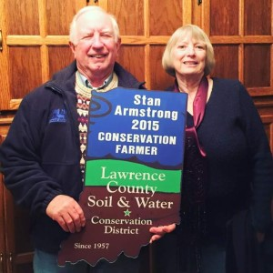 Stan and Ann with an award from Lawrence County for their conservation efforts